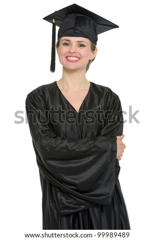 Portrait of happy graduation student woman. HQ photo. Not oversharpened. Not oversaturated