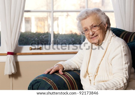 Portrait of Happy Grandmother (90 Years Old) - stock photo