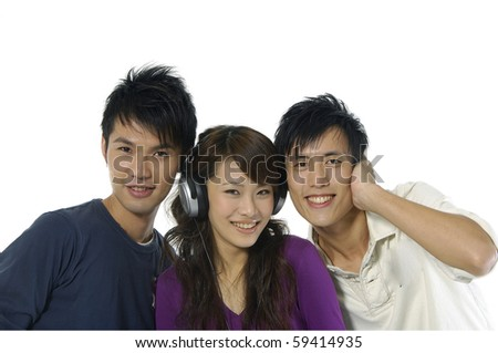 Portrait of happy group of friends smiling listening music - stock photo
