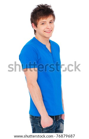 portrait of happy guy in blue t-shirt over white background - stock photo