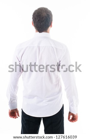 portrait of happy handsome young businessman isolated on white background