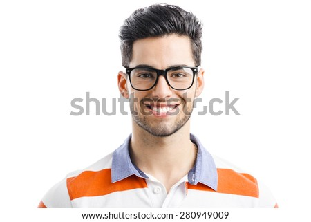 Portrait of happy handsome young man isolated on white background - stock photo