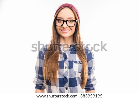 Portrait of happy hipster girl in violet hat and glasses - stock photo
