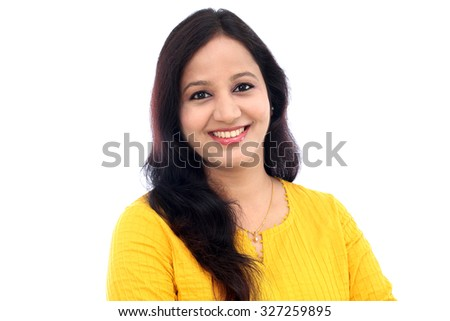 portrait of happy Indian woman  - stock photo