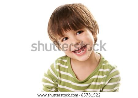 Portrait of happy joyful beautiful little boy isolated on white background