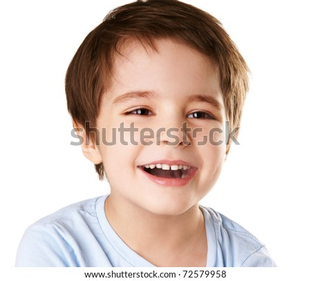 Portrait of happy joyful beautiful little boy isolated on white background - stock photo