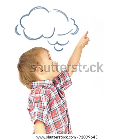 Portrait of happy joyful beautiful little boy isolated on white background pointing up and dreaming about something. Blank cloud balloon overhead - stock photo