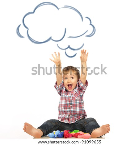 Portrait of happy joyful beautiful little boy isolated on white background with blank cloud balloon overhead - stock photo