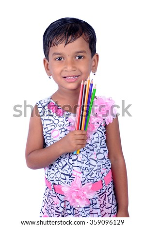 Portrait of happy joyful beautiful little girl with pencil isolated on white background - stock photo