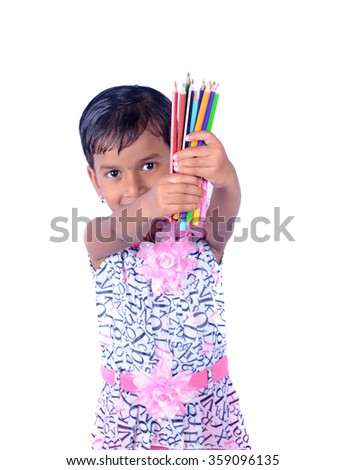 Portrait of happy joyful beautiful little girl with pencil isolated on white background - stock photo