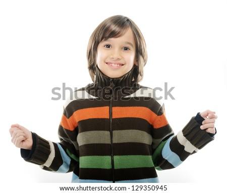 Portrait of happy joyful little boy isolated on white background - stock photo