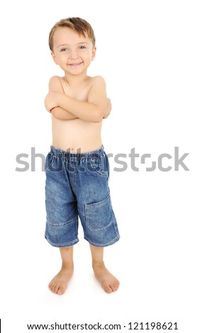 portrait of happy kid shirtless smiling and posing over white background - stock photo