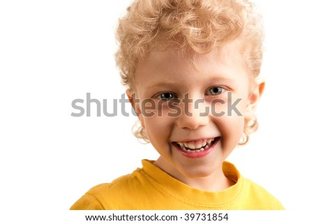 Portrait of happy lad laughing over white background - stock photo
