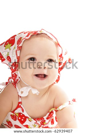 Portrait of happy laughing baby girl isolated on white background - stock photo
