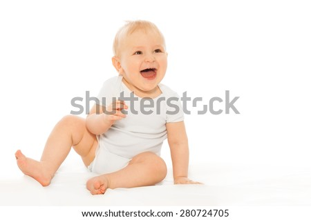 Portrait of happy laughing baby in white bodysuit - stock photo