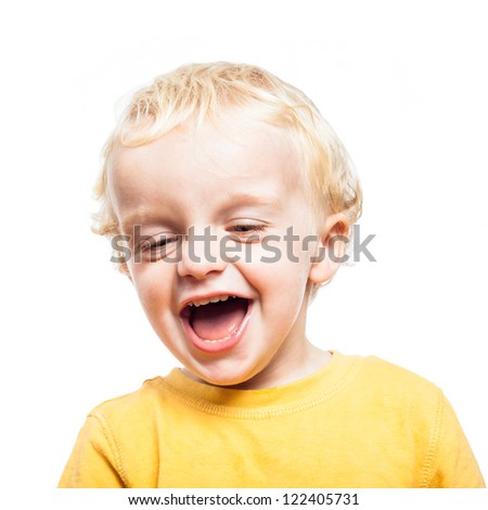 Portrait of happy laughing child boy, isolated on white background. - stock photo