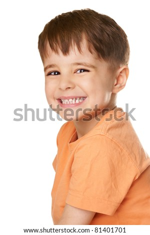 Portrait of happy laughing little boy isolated on white background - stock photo