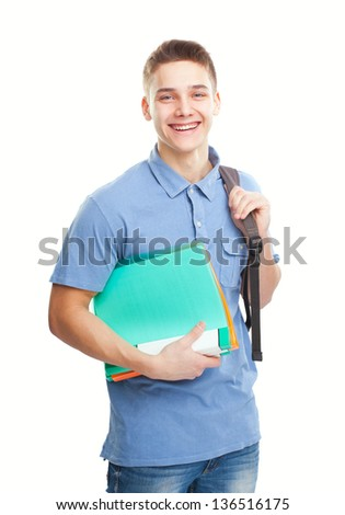 Portrait of happy laughing student with his notebook and backpack isolated on white background