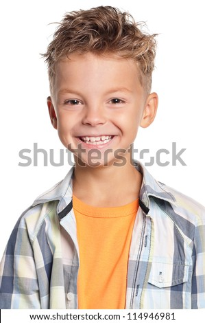 Portrait of happy little boy isolated on white background - stock photo