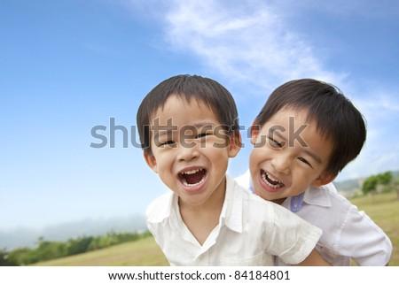Portrait of happy  little boys - stock photo