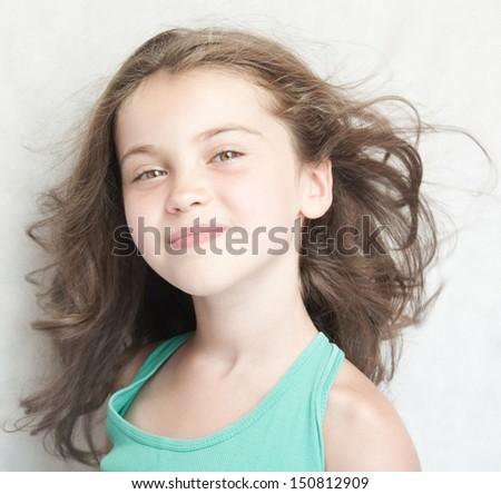 Portrait of happy little girl. - stock photo