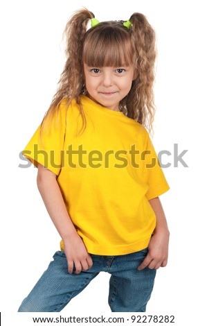 Portrait of happy little girl over white background - stock photo
