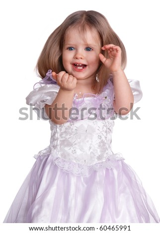 Portrait of happy little girl. White  background.