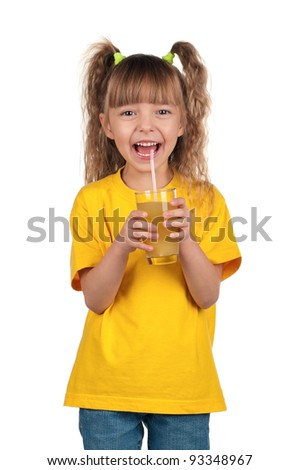 Portrait of happy little girl with glass of fresh juice with straw over white background - stock photo