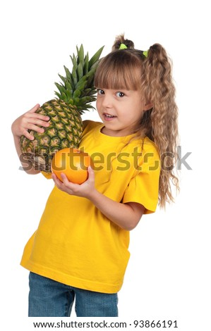 Portrait of happy little girl with pineapple and grapefruit over white background