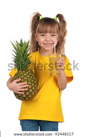 Portrait of happy little girl with pineapple juice over white background