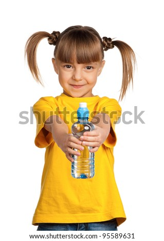 Portrait of happy little girl with water from plastic bottle isolated on white background - stock photo