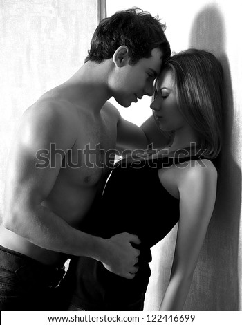 Portrait of happy loving couple - stock photo