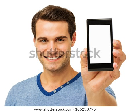 Portrait of happy man displaying smart phone against white background. Horizontal shot. - stock photo