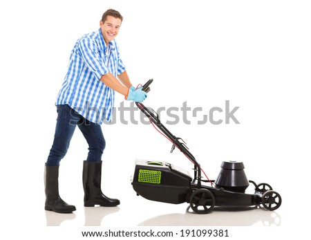 portrait of happy man mowing lawn isolated on white - stock photo