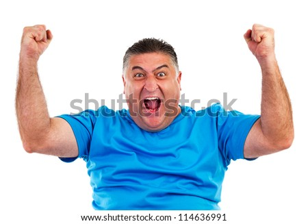 Portrait of happy man with hands lifted upwards isolated on white - stock photo