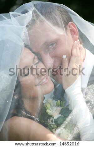 Portrait of happy marriageable touching face of groom under veil