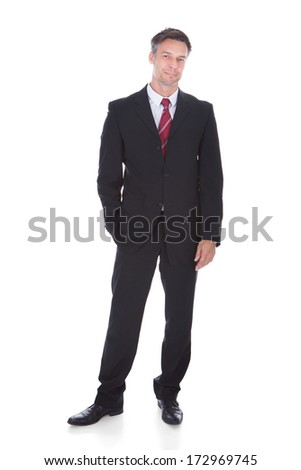 Portrait Of Happy Mature Businessman Isolated Over White Background - stock photo