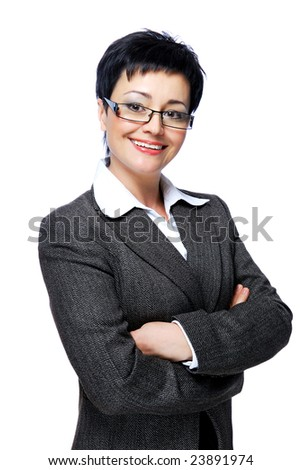 Portrait of happy mid adult businesswoman with crossed-arms - on a white background - stock photo