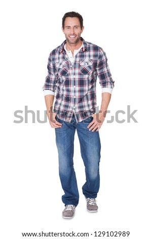 Portrait of happy middle age man. Isolated on white