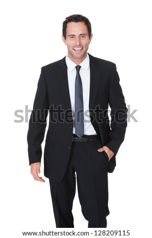 Portrait of happy middle aged businessman. Isolated on white - stock photo