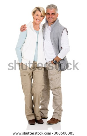 portrait of happy middle aged couple isolated on white - stock photo