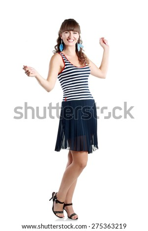 Portrait of happy middle aged woman wearing summer dress