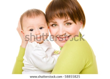 Portrait of happy mom and baby - stock photo