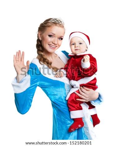 Portrait of happy mom-Snow Maiden and baby-Santa - stock photo