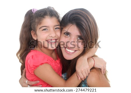 portrait of happy mother and daughter on a white background - stock photo