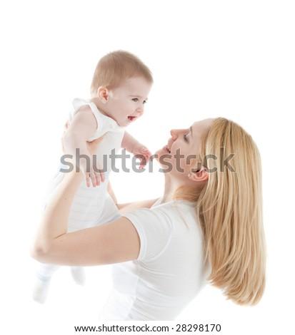 Portrait of happy mother with joyful baby boy - stock photo