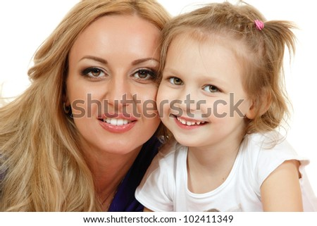 Portrait of happy mother with little daughter. White background - stock photo