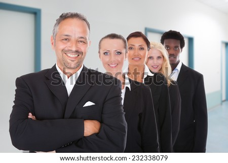 Portrait of happy multiethnic businesspeople standing in a row at office - stock photo
