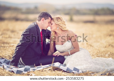 Portrait of happy newlyweds on grass in park - stock photo