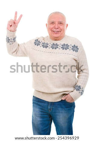 Portrait of happy old man showing two fingers,victory sign, positive or peace gesture. isolated on white background - stock photo